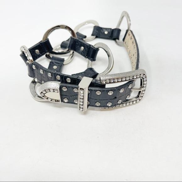 WESTERN STYLE Women's Bling Belt Black Silver Tone